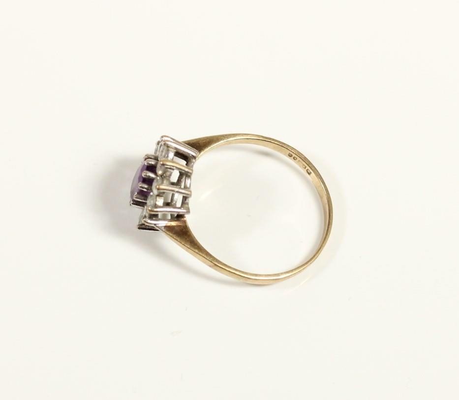 A 9ct gold amethyst and white stone cluster ring, P and a pair of amethyst ear studs, 5.2gm - Image 2 of 3