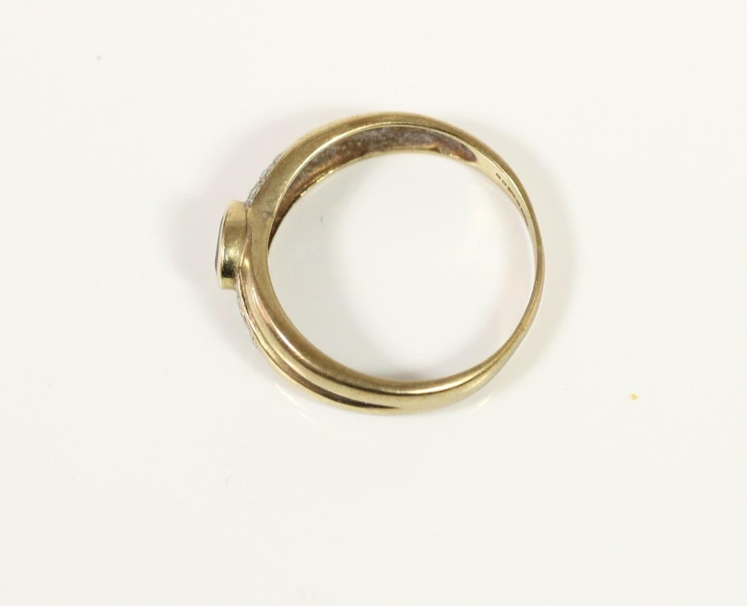 A 9ct gold sapphire and diamond dress ring, Q, 2.4gm - Image 2 of 2