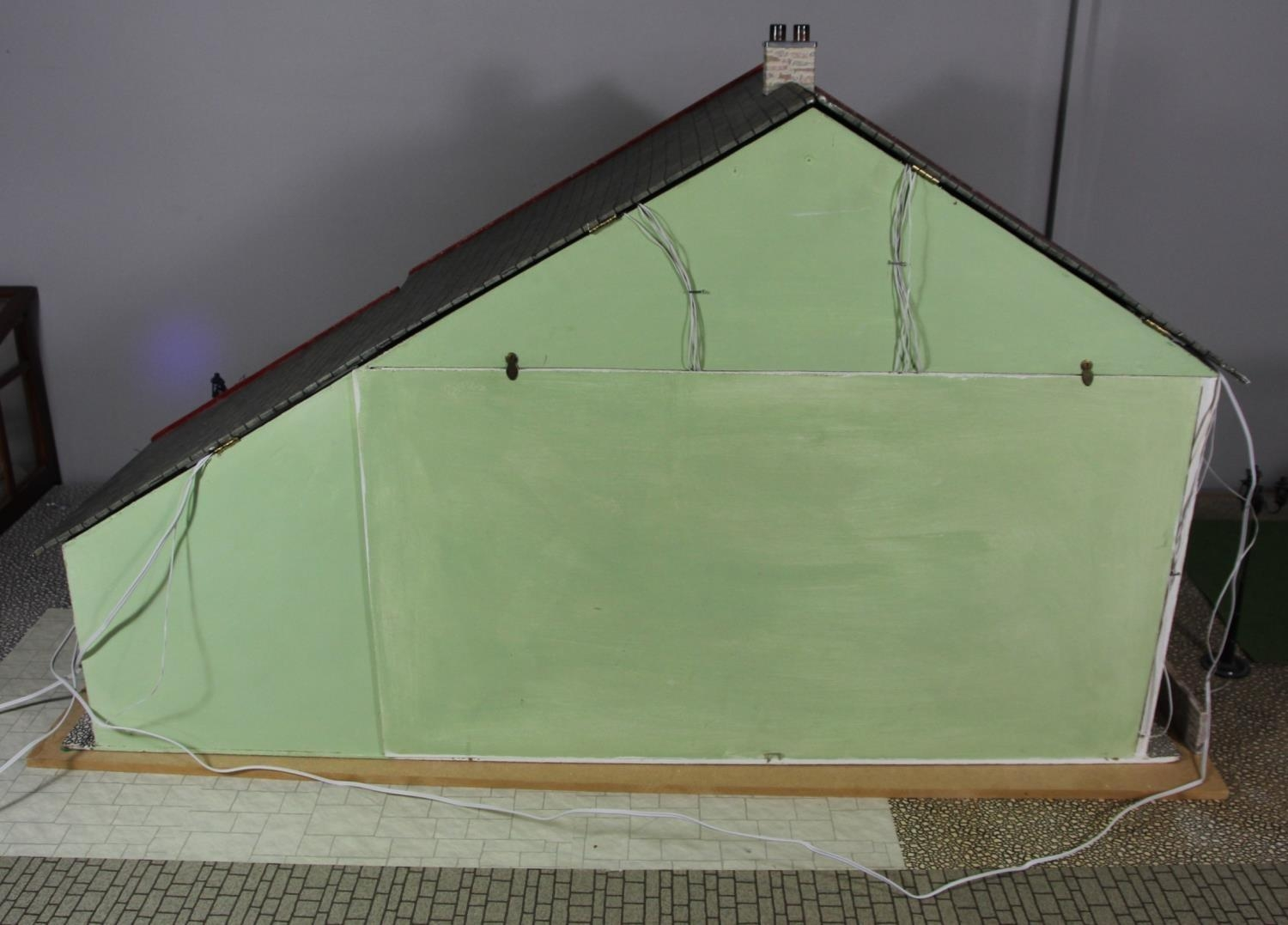 A large hand built dolls house diorama, composed of a two story chalet type house with integral - Image 20 of 20