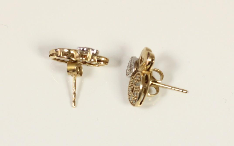 A pair of 9ct gold diamond set triple heart ear studs and another pair of diamond set ear studs, 5. - Image 5 of 5