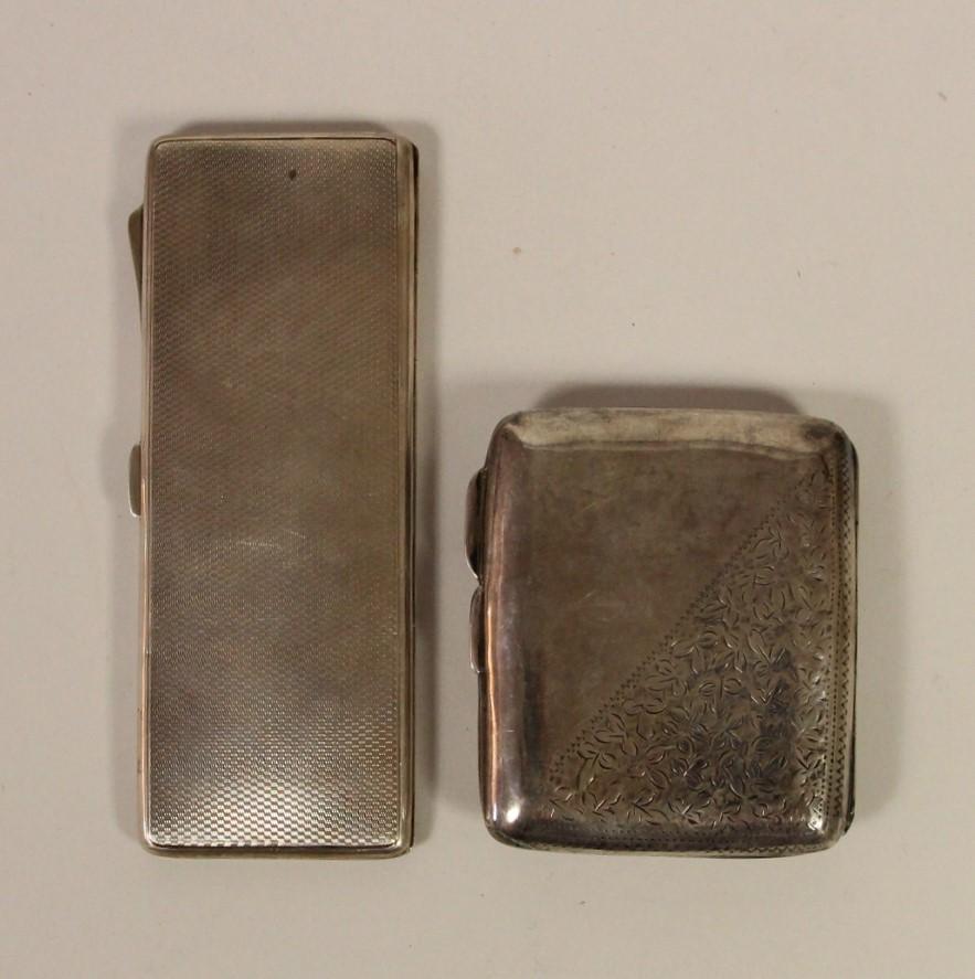 A silver combination cigarette/bookmatch case, Birmingham 1938 and a silver cigarette case, - Image 5 of 5