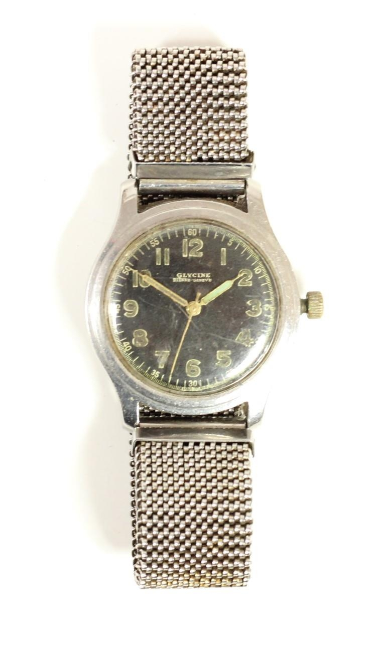 Glycine, Bienne - Geneve, a stainless steel manual wind military wristwatch, luminour numerals, - Image 3 of 3