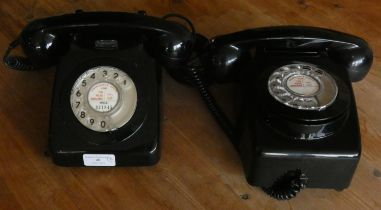 A 1970's GPO 746 rotary telephone, black gloss plastic casing, together with a matching 741 wall