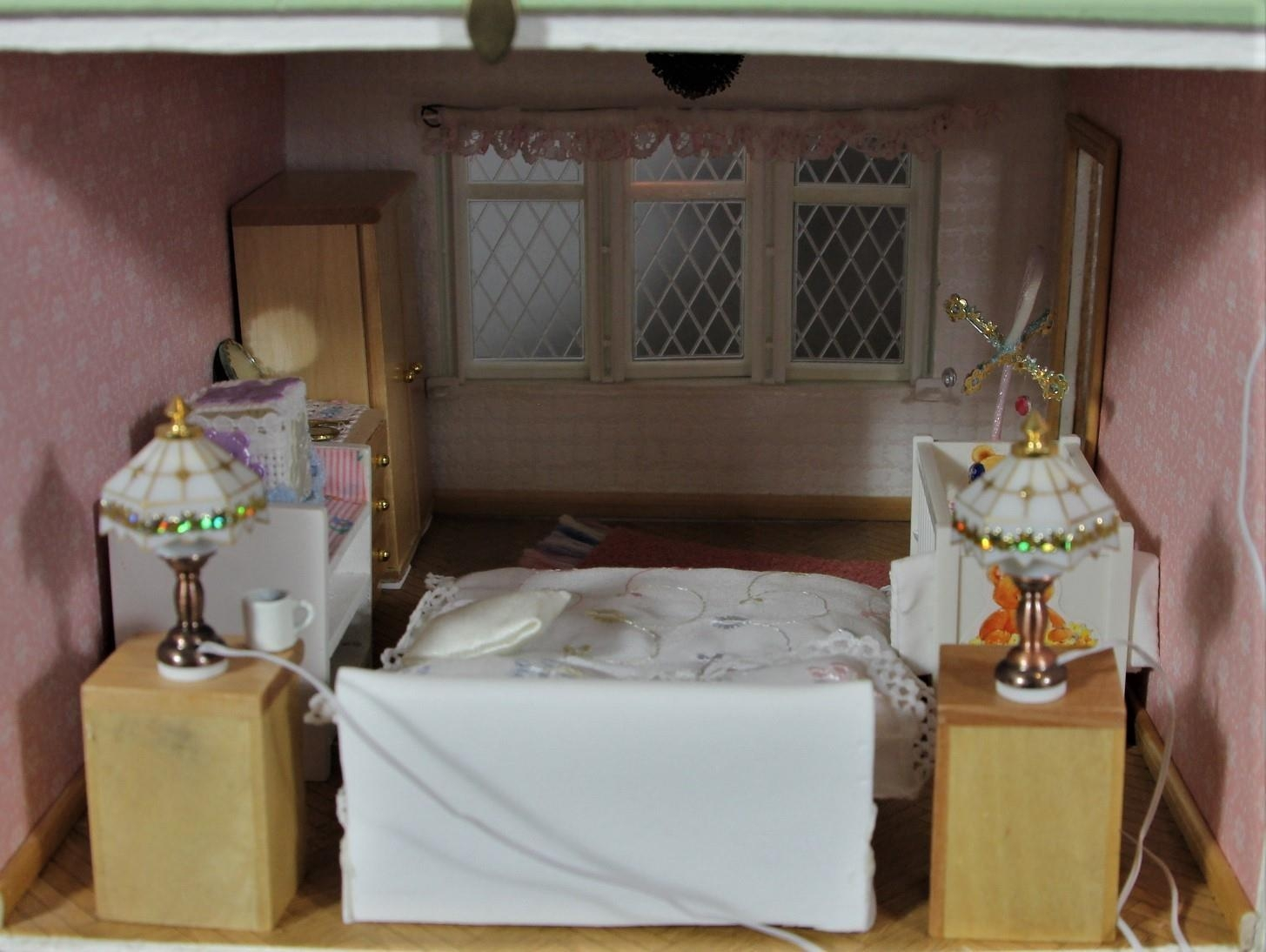 A large hand built dolls house diorama, composed of a two story chalet type house with integral - Image 4 of 20