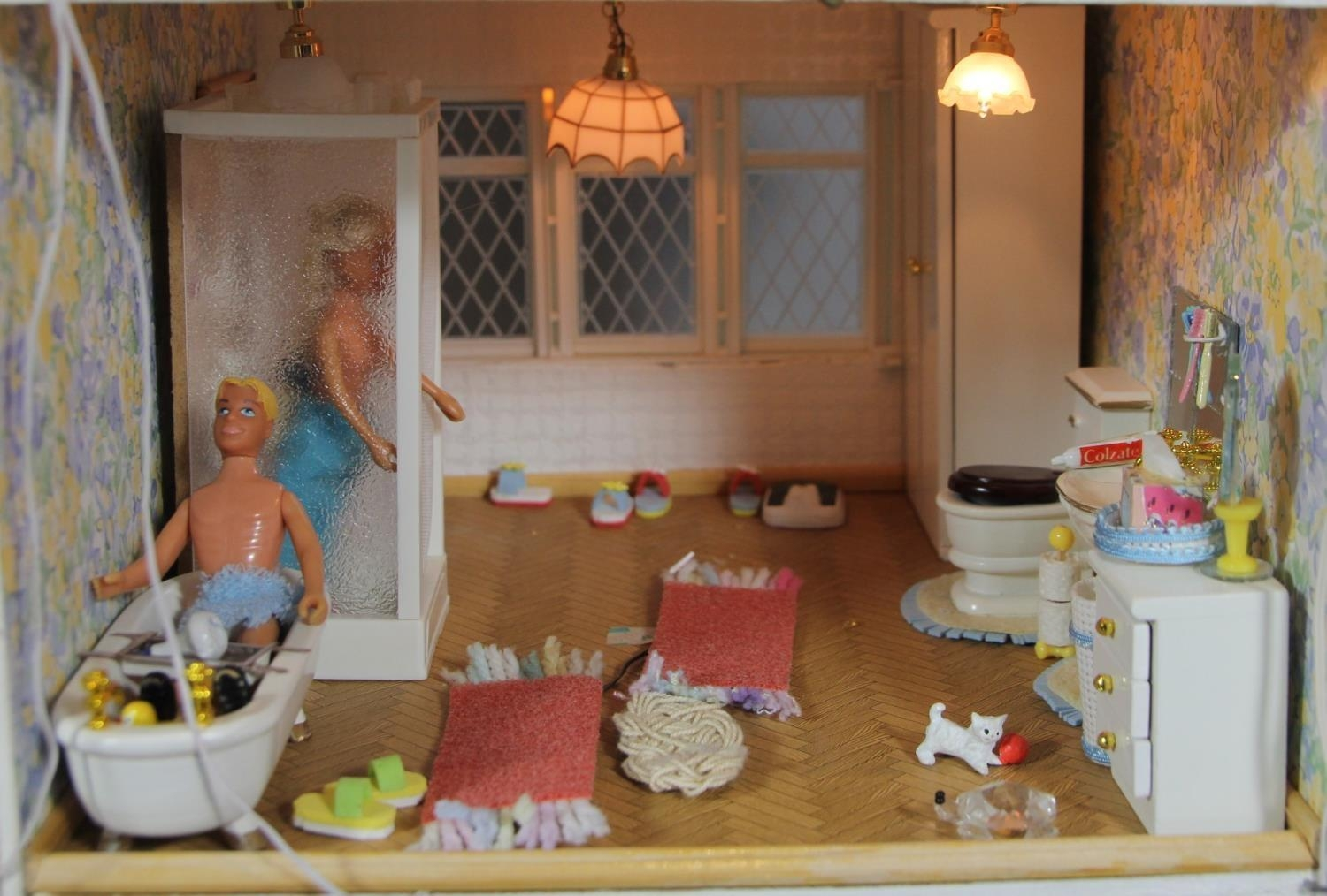 A large hand built dolls house diorama, composed of a two story chalet type house with integral - Image 8 of 20