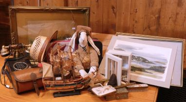 A selection of over twenty framed/glazed prints, together with a box to include a model ship, set of