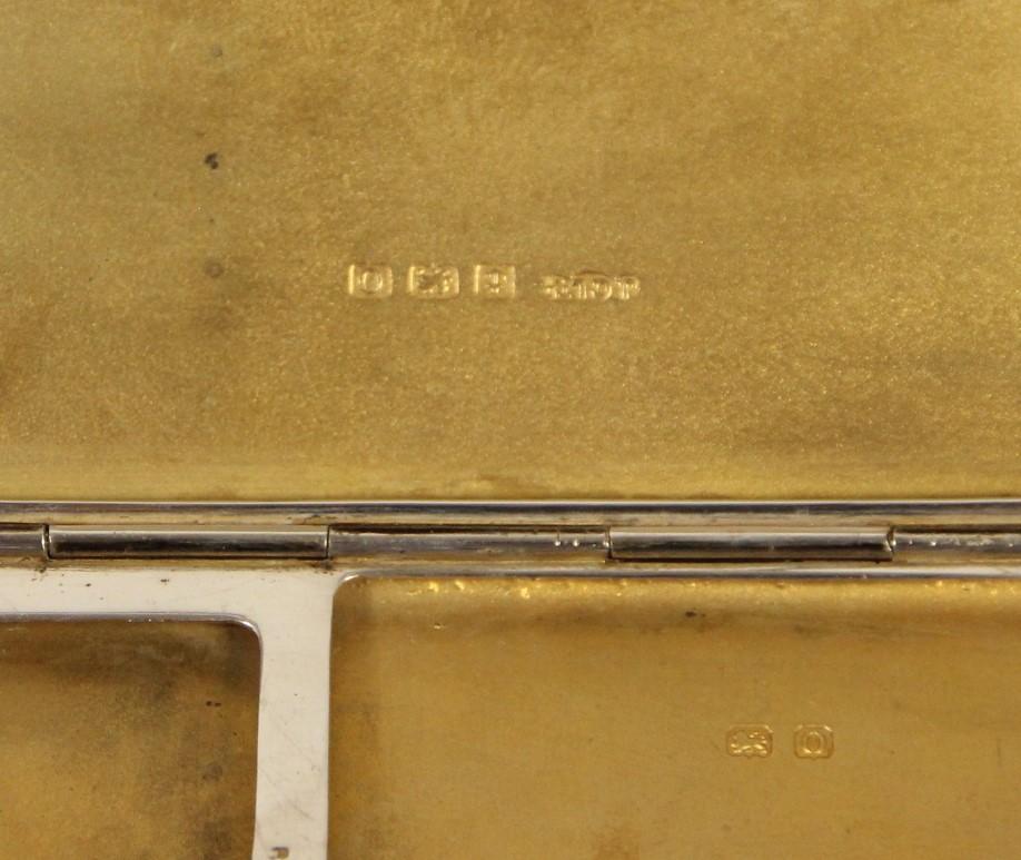 A silver combination cigarette/bookmatch case, Birmingham 1938 and a silver cigarette case, - Image 3 of 5