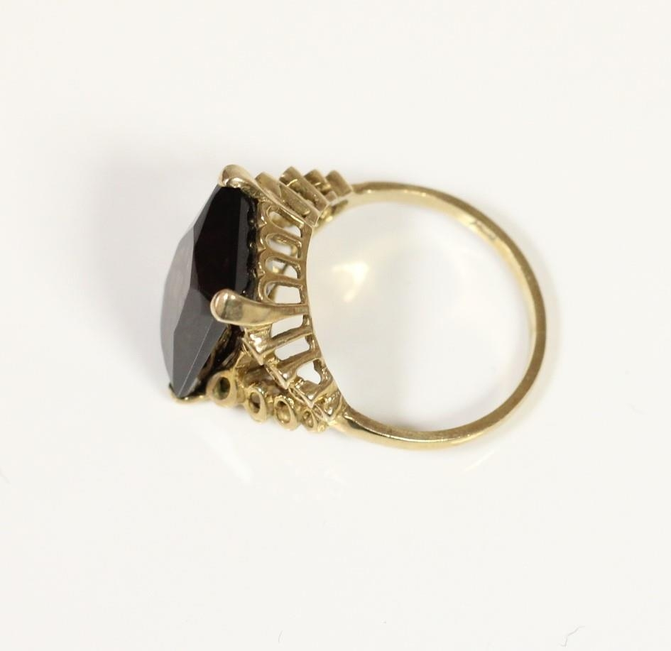 A 9ct gold and amethyst cluster ring, R and a 9ct gold and smokey quartz ring, L, 7.2gm - Image 3 of 3