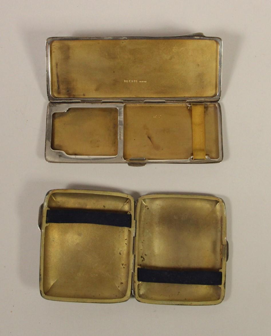 A silver combination cigarette/bookmatch case, Birmingham 1938 and a silver cigarette case, - Image 2 of 5