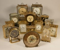A collection of clocks to include, a Schatz anniversary clock, a Bentima 8 day mantel clock, a