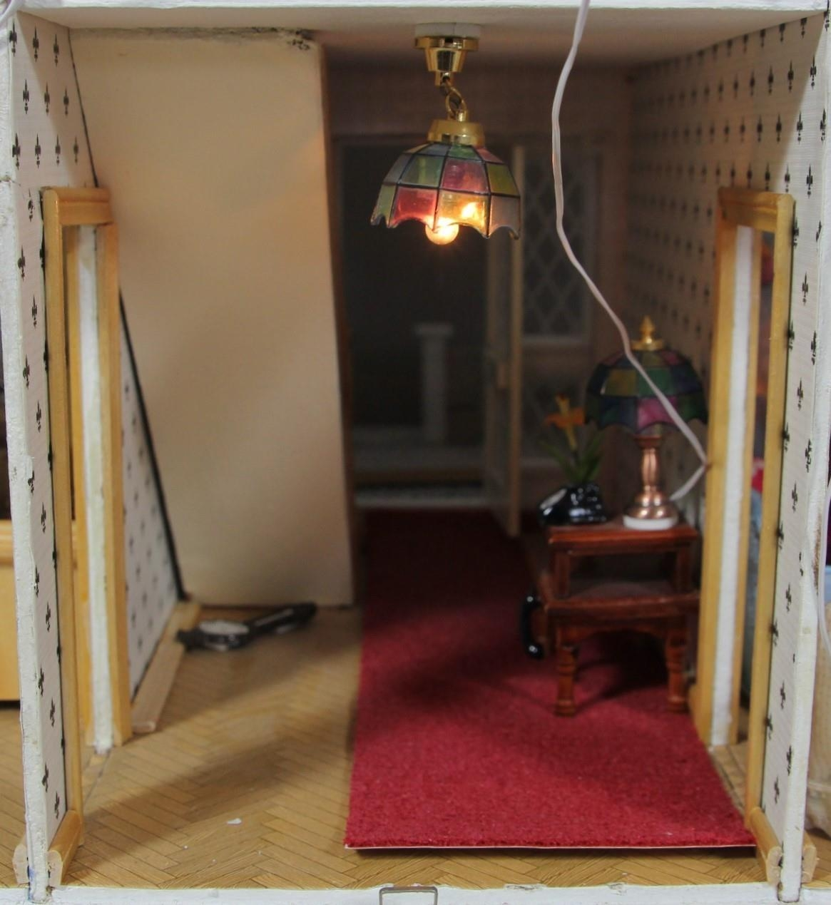 A large hand built dolls house diorama, composed of a two story chalet type house with integral - Image 10 of 20