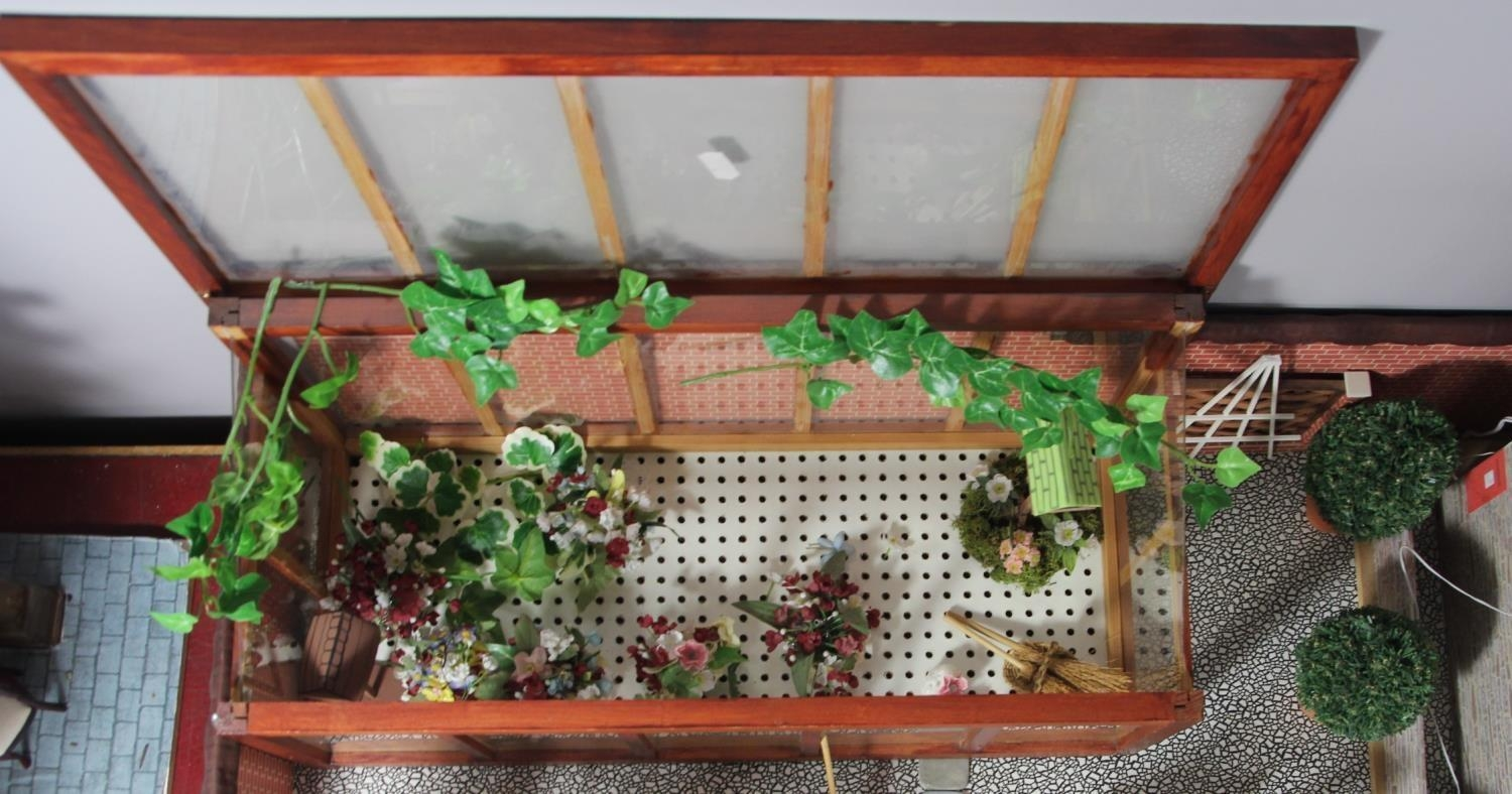 A large hand built dolls house diorama, composed of a two story chalet type house with integral - Image 16 of 20