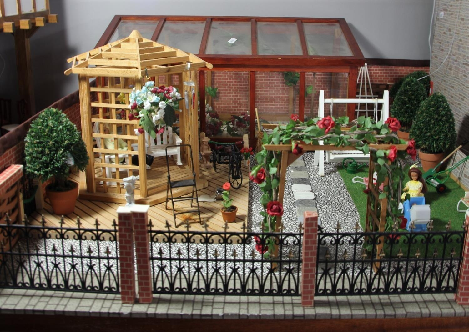 A large hand built dolls house diorama, composed of a two story chalet type house with integral - Image 6 of 20