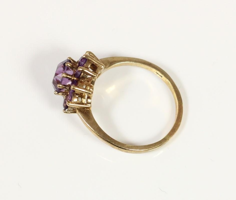A 9ct gold and amethyst cluster ring, R and a 9ct gold and smokey quartz ring, L, 7.2gm - Image 2 of 3