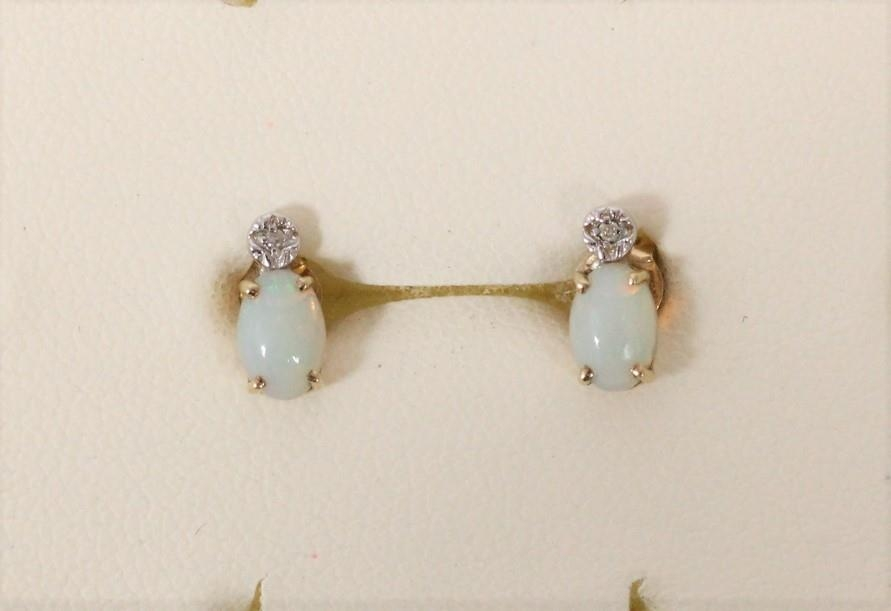 A Scottish 9ct gold and opal doublet pendant, Edinburgh 1978, another opal pendant and a pair of ear - Image 2 of 2