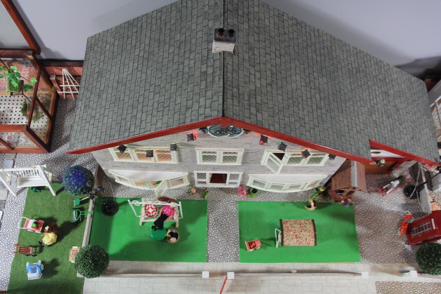A large hand built dolls house diorama, composed of a two story chalet type house with integral - Image 15 of 20