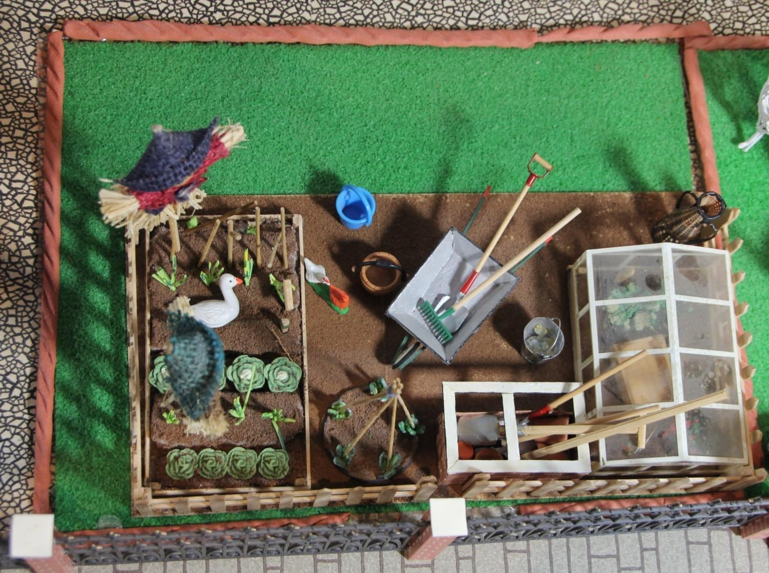 A large hand built dolls house diorama, composed of a two story chalet type house with integral - Image 18 of 20