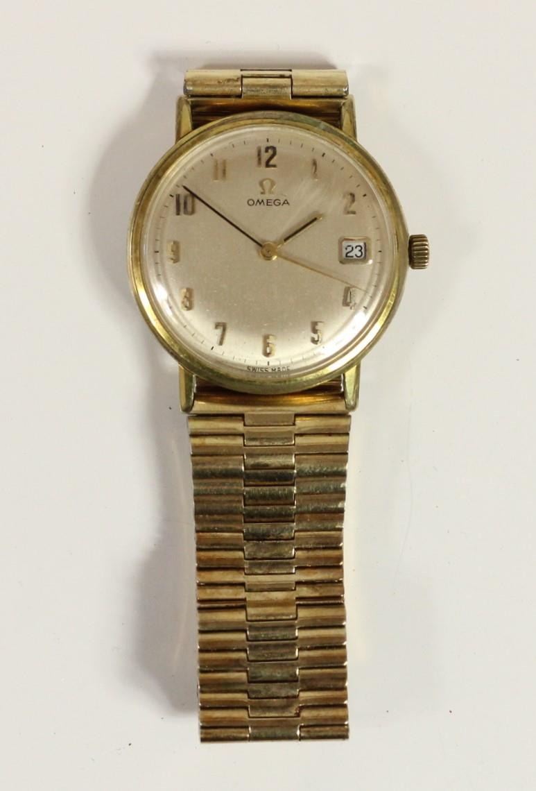 Omega, a gilt metal manual wind day gentleman's wristwatch, Arabic numerals, 34mm. - Image 3 of 3