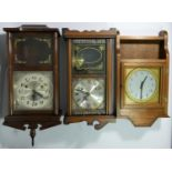 A collection of clocks to include, an Acctim 31 day wall clock, a Highlands 31 day wall clock,