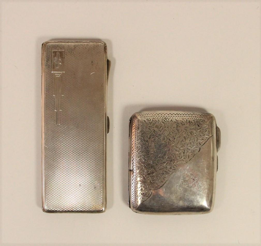 A silver combination cigarette/bookmatch case, Birmingham 1938 and a silver cigarette case,