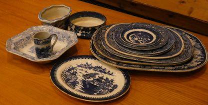 "A Victorian blue & white transfer pottery serving platter ""Wild Rose"" pattern. Bucolic scene of"