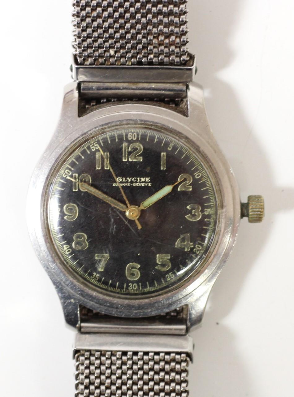Glycine, Bienne - Geneve, a stainless steel manual wind military wristwatch, luminour numerals,