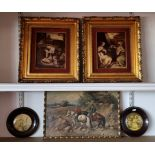 A pair of 20th century crystoleums, depicting religious scenes, 25 x 20cm and 3 prints