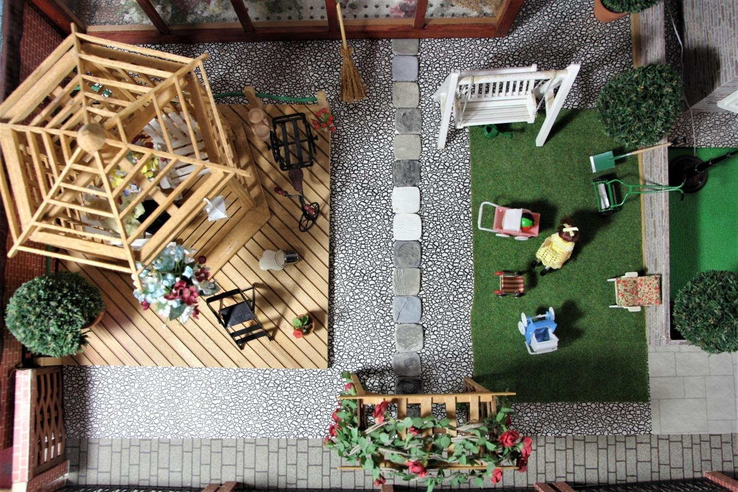 A large hand built dolls house diorama, composed of a two story chalet type house with integral - Image 17 of 20