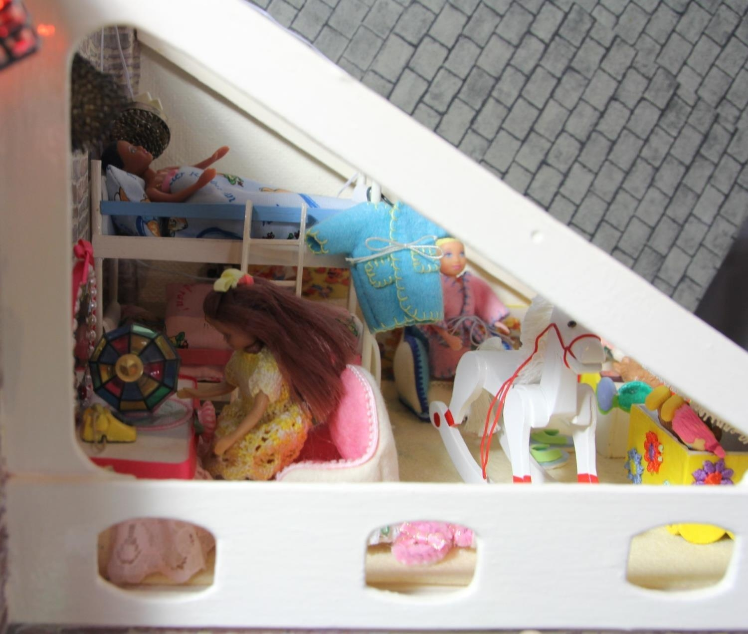 A large hand built dolls house diorama, composed of a two story chalet type house with integral - Image 14 of 20