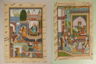 Three Persian hand coloured mass pages with Arabic/ Persian manuscript to the reverse, together with
