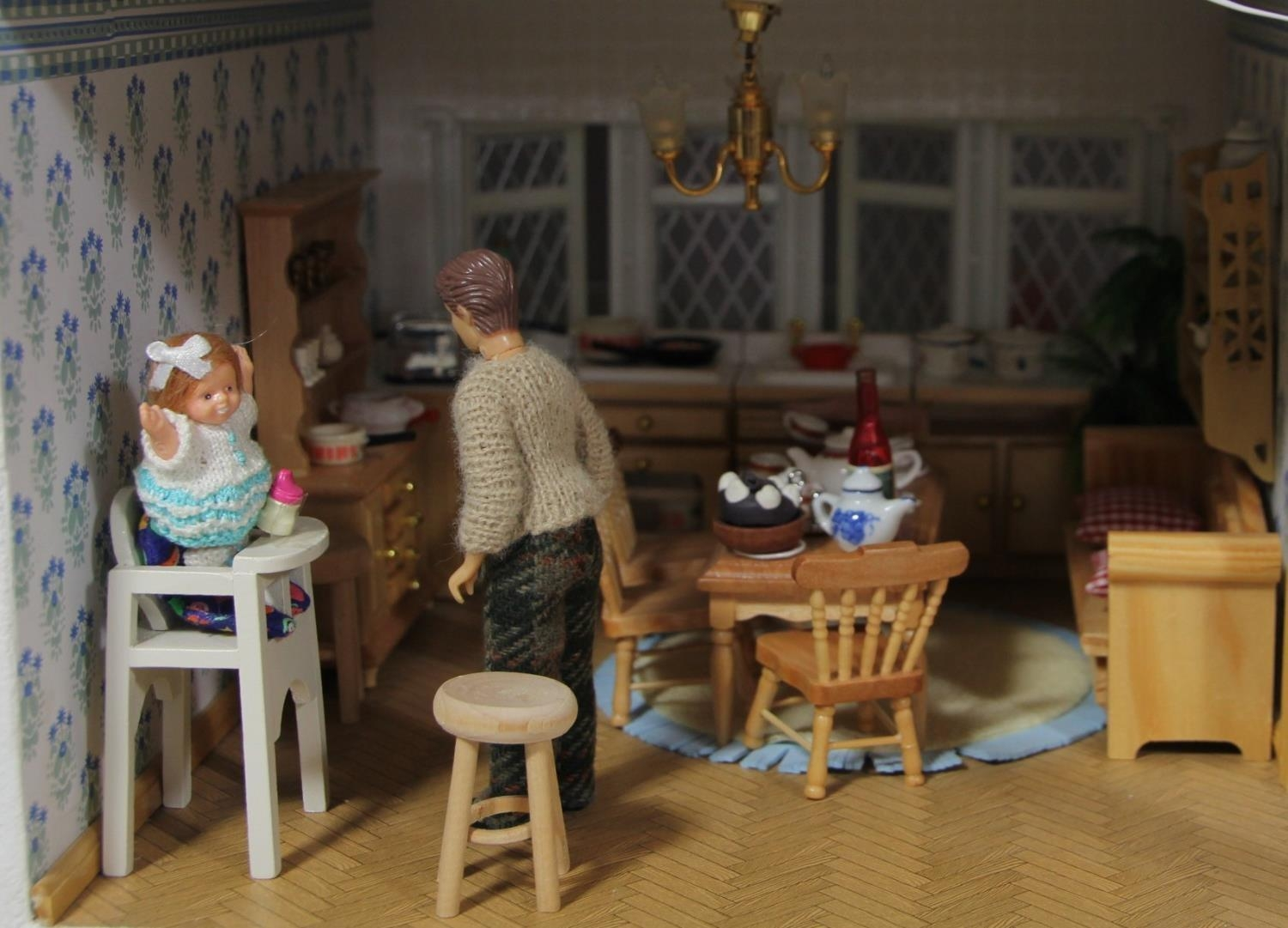 A large hand built dolls house diorama, composed of a two story chalet type house with integral - Image 9 of 20