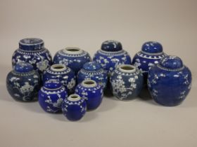 A collection of Chinese blue & white lidded vases and ginger jars