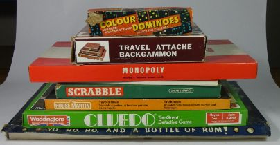 A box of assorted board games to include, Scrabble, Cluedo, Monopoly, Back Gammon, and others.