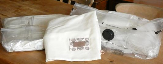 A large quantity of linen to include, a Victorian drawn thread bed counter cloth, embroidered tray