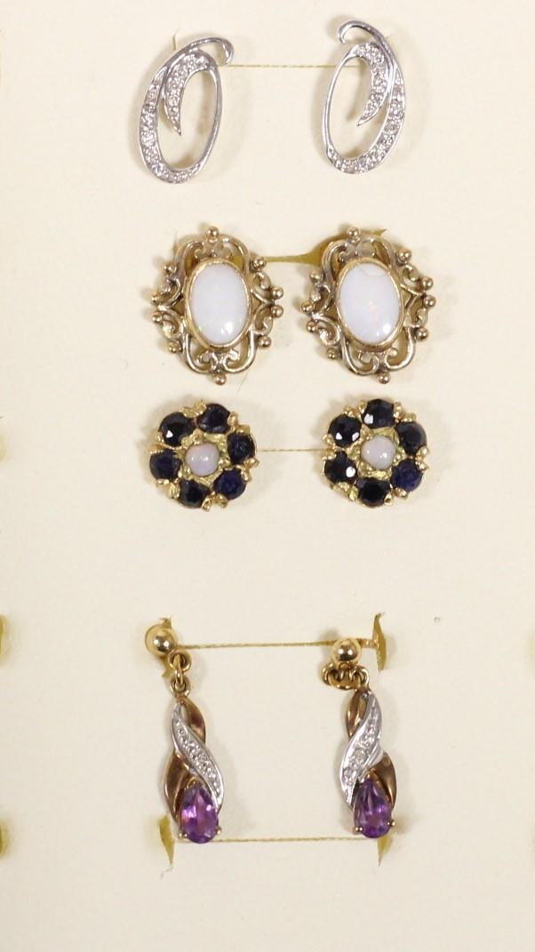Four pairs of 9ct gold gem set ear rings, 5.6gm