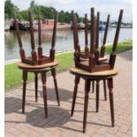 A set of six 'Pub Style' hardwood tables. 61cm diameter.