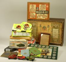 A collection of toys and games, including a Dinky Supertoy 651 Centurion tank (boxed), An early 20th