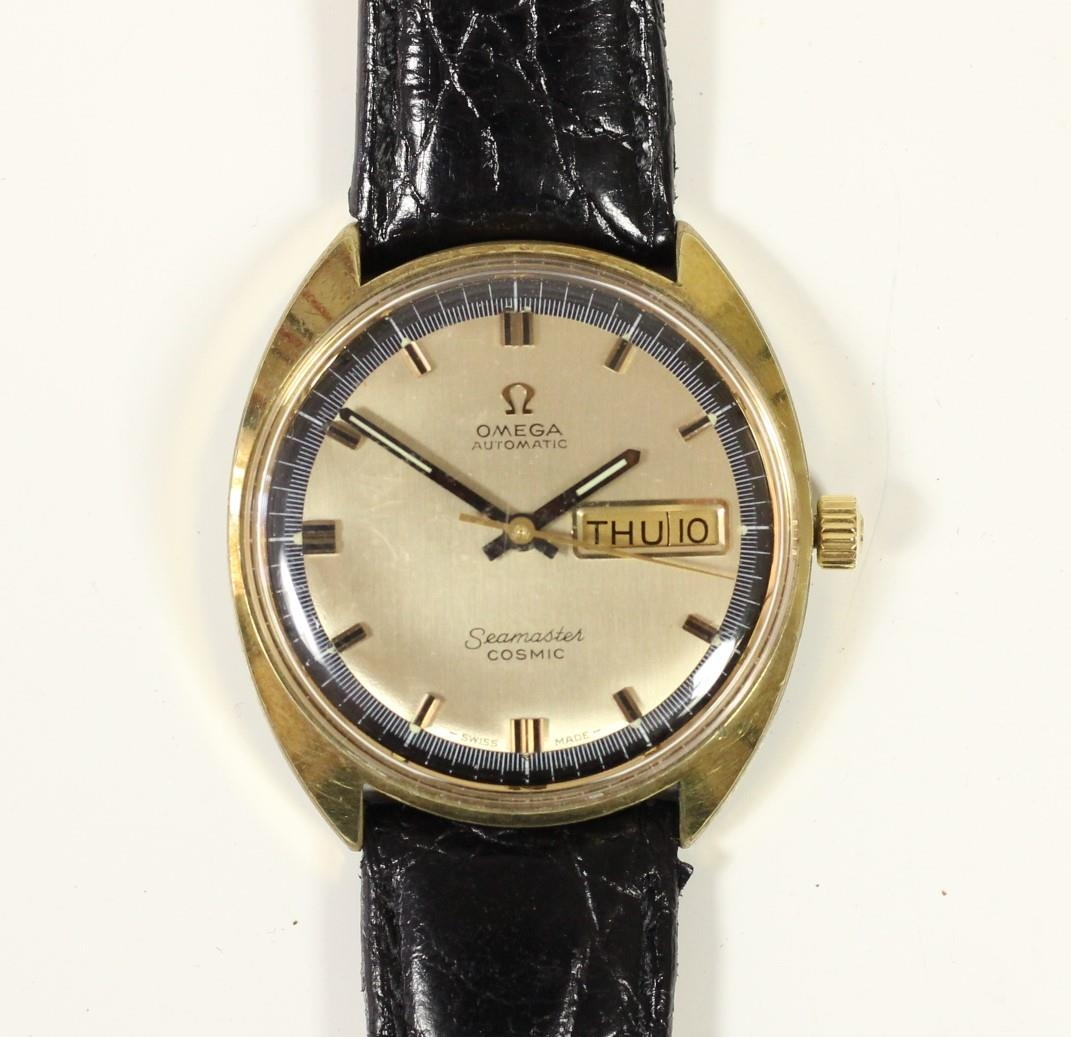 Omega Seamaster Cosmic day/date gilt metal gentleman's wristwatch, c.1970's, with blue chapter ring,