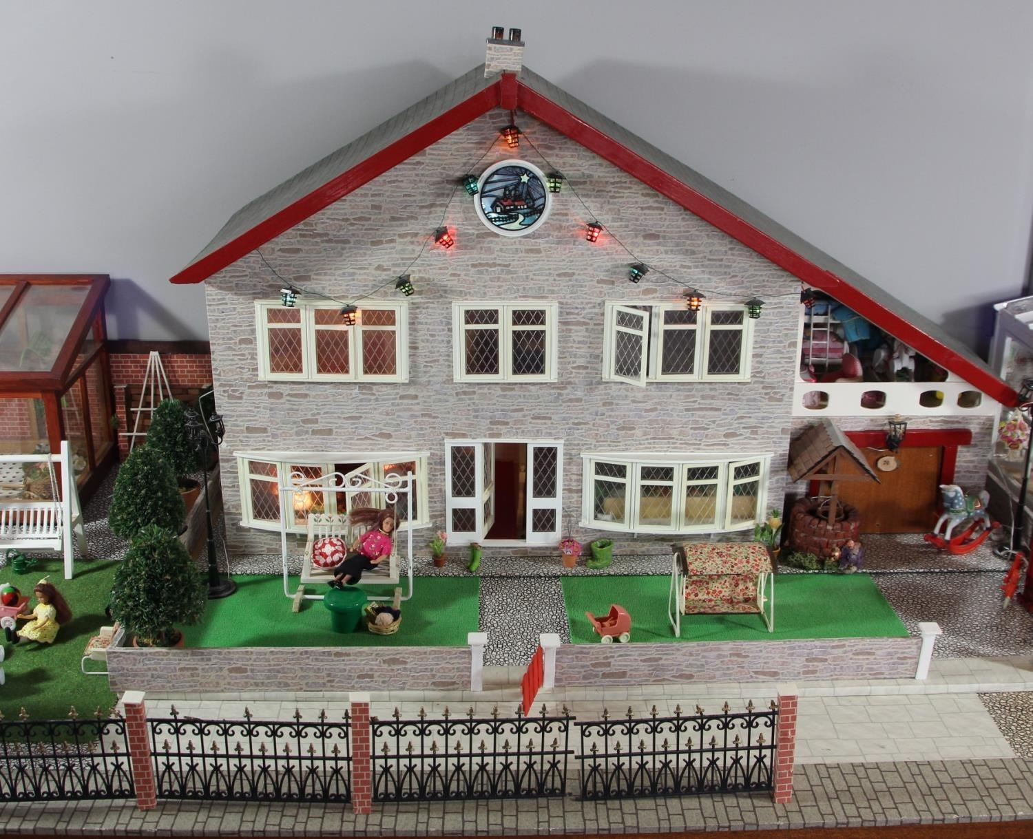 A large hand built dolls house diorama, composed of a two story chalet type house with integral - Image 2 of 20