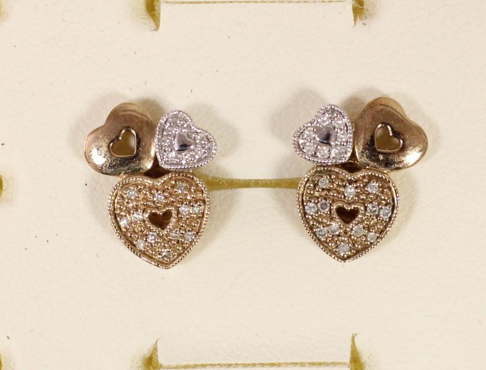 A pair of 9ct gold diamond set triple heart ear studs and another pair of diamond set ear studs, 5. - Image 2 of 5