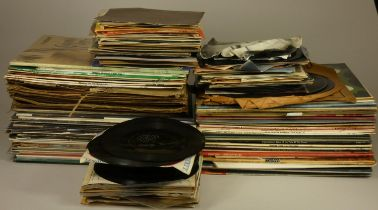 A collection of over 100 vinyl records, consisting of classical, country and 80s, including Mary