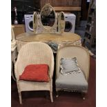 Lloyd Loom style furniture to include, three bedroom chairs, clothes basket, shelf unit, blanket