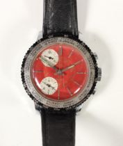 Globa Sport, a stainless steel gentleman's chronograph manual wind wristwatch, the red dial with