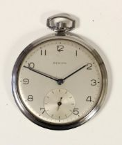 Zenith, a stainless steel manual wind pocket watch, silvered dial with Arabic numerals, the signed