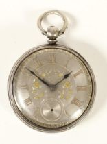 Rob Cooper, Domsby, a Victorian silver open face fusee pocket watch, London 1866, the silver dial