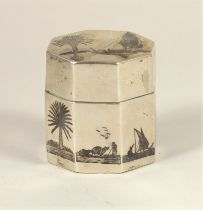 An Egyptian silver and niello octagonal box, with camel and boat decoration, 5cm high, 2oz