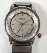 Seiko, a stainless steel Tokyo Olympic World Time Automatic Diashock wristwatch, ref. 6217-7000, c.
