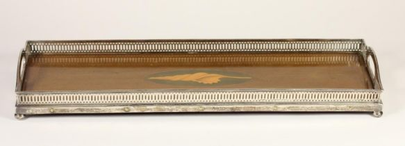 An Edwardian silver and mahogany gallery two handled tray, with boxwood and green stained shell