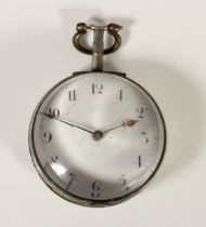 Sam Newton, Burnley, a George III silver cased fusee pair case pocket watch, London 1802, white