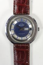 Bvler a stainless steel manual wind day/date gentleman's wristwatch, c.1970's, the blue dial with